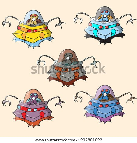 A set of vector illustrations of cute aliens on a spaceship with robotic hands, vector illustrations of aliens on a ufo, an alien on a space rocket, a set of alien soldiers on a ufo. ufo army, alien a