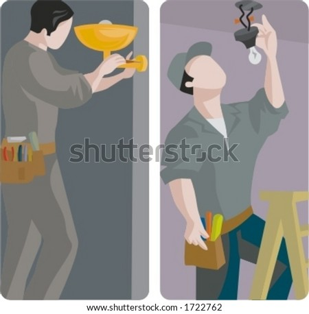 A set of 2 vector illustrations of electricians changing light bulbs. - stock vector