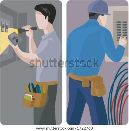 A set of 2 vector illustrations of electricians. 1) Electrician using a multimeter and a flashlight. 2) Electrician repairing an electric panel.