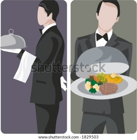 A set of 2 vector illustrations of waiters. - stock vector
