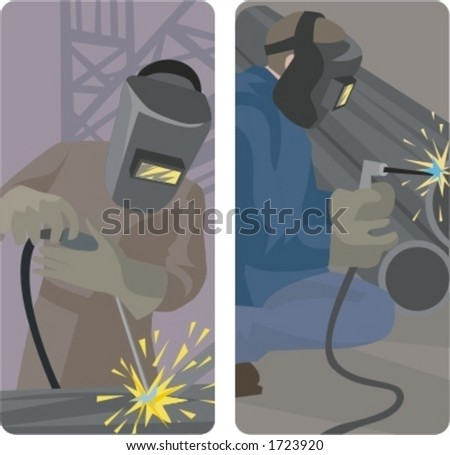 A set of 2 vector illustrations of welders.