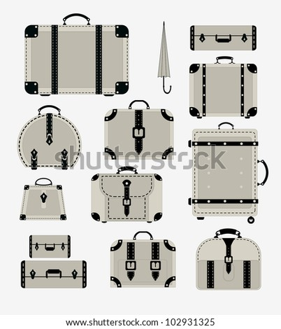 A set of vector images of traffic trunks and bags