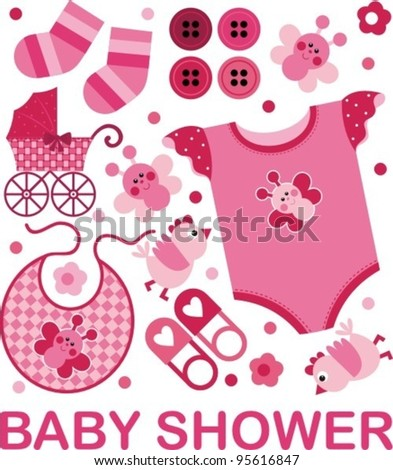 A set of vector images on the child's birth - stock vector