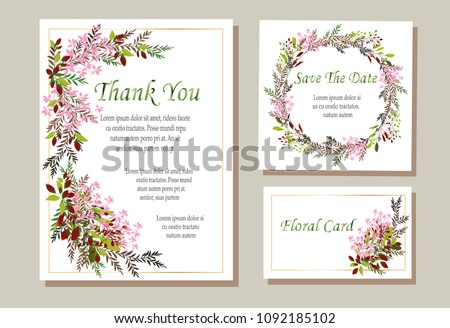 A set of vector maps with pink roses and green leaves. Vector illustration. Decorative invitation to the holiday. Wedding, birthday. Universal card. #1092185102