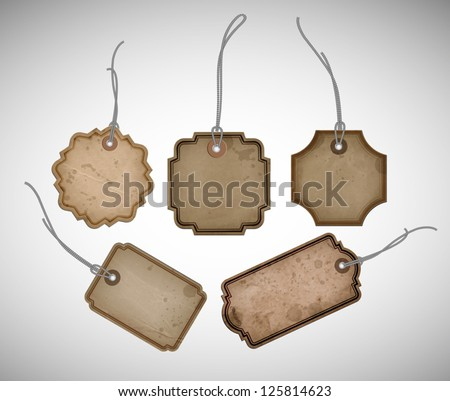 A set of vector old cardboard paper vintage tags