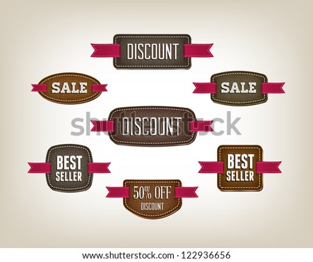 A set of vector promo cardboard / leather banners decorated with red ribbon tags