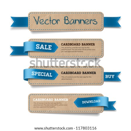A set of vector promo cardboard paper banners decorated with blue ribbon tags