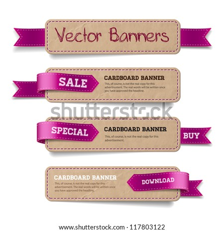A set of vector promo cardboard paper banners decorated with purple ribbon tags