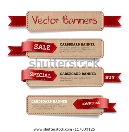 A set of vector promo cardboard paper banners decorated with red ribbon tags