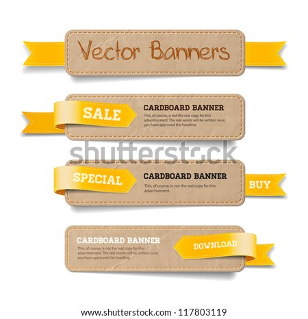 A set of vector promo cardboard paper banners decorated with yellow ribbon tags