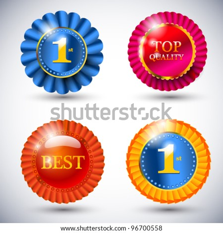 A set of vector quality ribbon badges