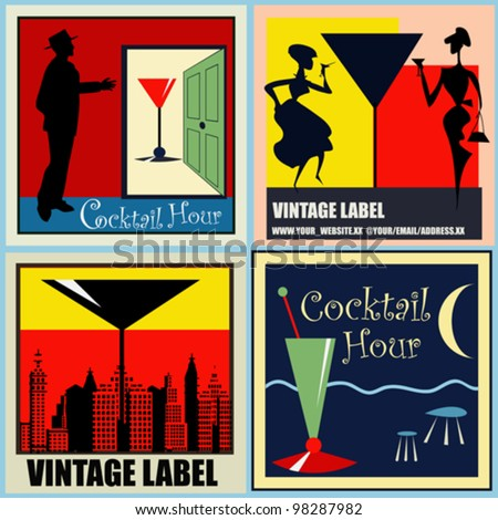 A set of vector Retro Cocktail labels/backgrounds for a 1950's style bar