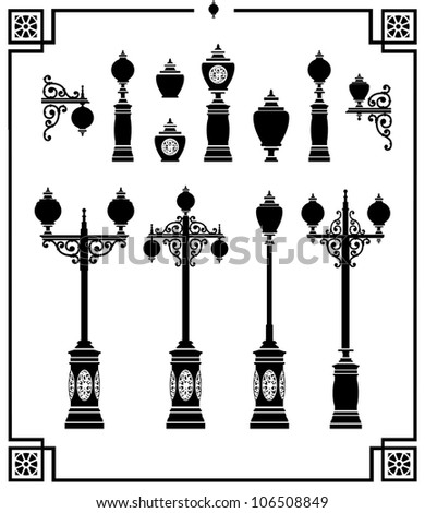 A set of vector silhouettes of vintage street lamps