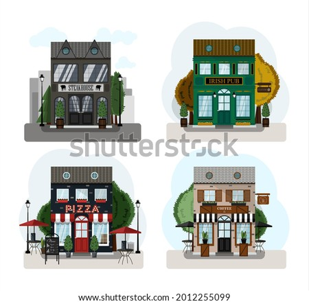A set of vector stores, restaurants and cafes. Irish pub exterior, Steakhouse, pizzeria, coffee house. Flat design of facade. Beer house building concept.Illustration of a city street. St. Patrick s D Foto stock ©