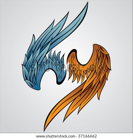 a set of vector wing illustration