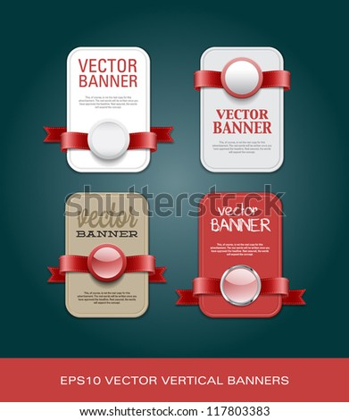 A set of vertical vector promo banners decorated with red ribbons and various plastic round seals