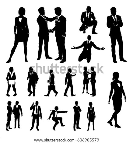 A set of very high quality business people silhouettes Stock photo ©