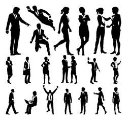 A set of very high quality silhouette business people