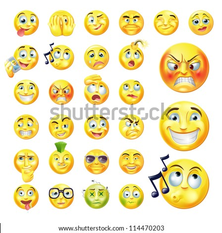 A set of very original emoticon or emoji icons representing lots of reactions personalities and emotions
