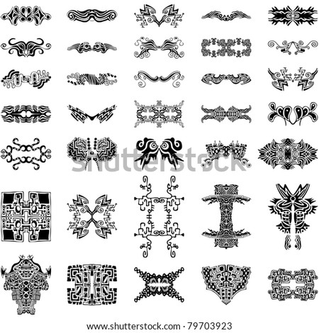A set of 35 very unique, abstract, hand-drawn vector design elements
