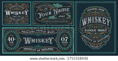 A set of vintage alcohol label templates for packaging and many other uses.