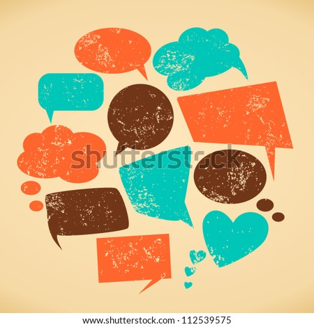 A set of vintage speech bubbles. Grunge texture easy to remove.