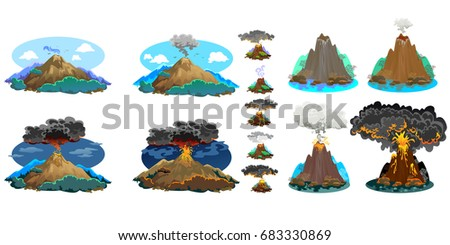 a set of volcanoes of varying
