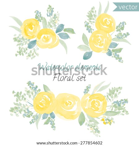 a set of watercolor yellow