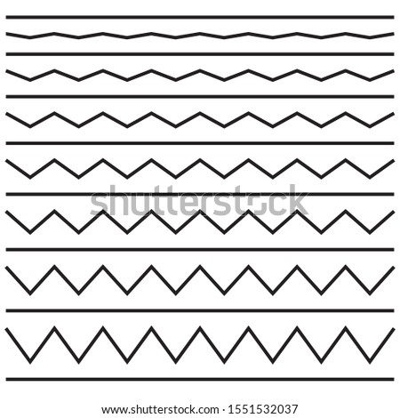 A set of wavy - wavy and zigzag - crosses cross horizontal lines. Vector illustration.