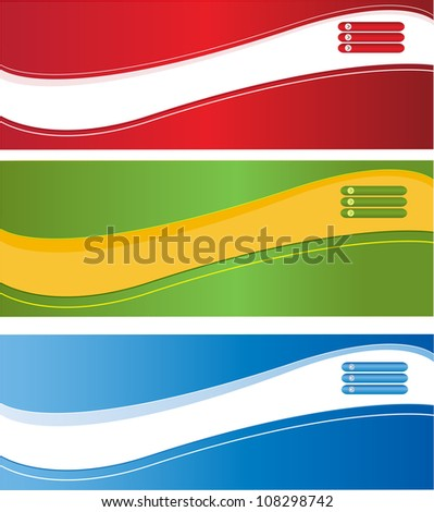 A set of web banners of different colors