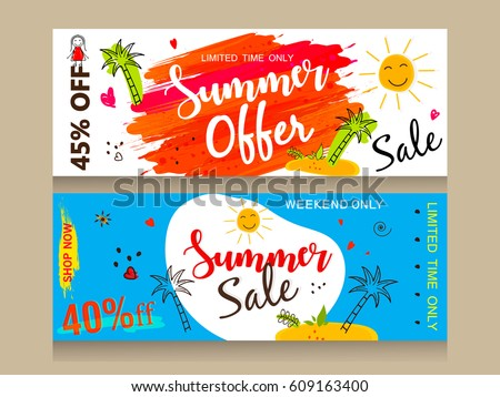 A Set of Website Header or Banner design for Summer Offer, Discount, Sale etc. with colorful Line Art based background.