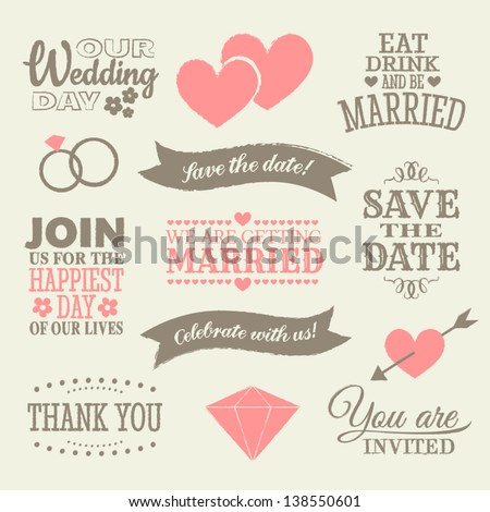 A set of wedding design elements and icons. #138550601