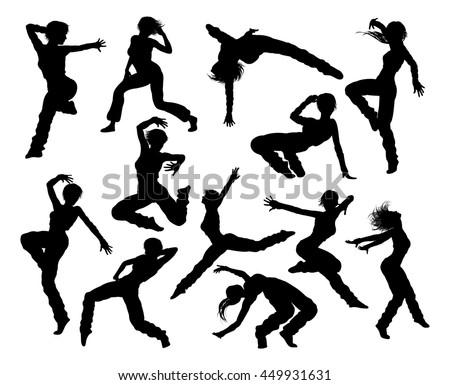 a set of woman street dance hip