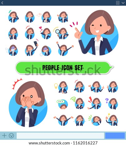 A set of woman with expresses various emotions on the SNS screen.There are variations of emotions such as joy and sadness.It's vector art so it's easy to edit.
