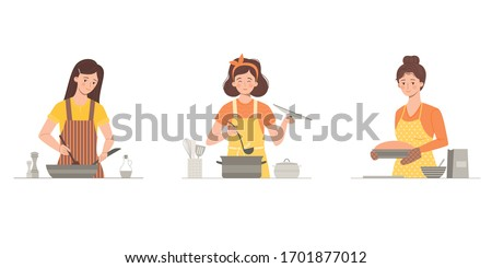 A set of women cooking. Cook soup, fry or stew meat, vegetables in a frying pan, bake a pie. Happy Housewives. Minimalistic style. Isolated on a white background.