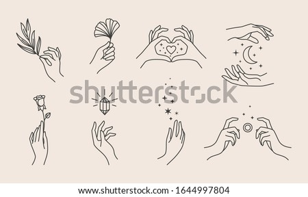 a set of women's hand logos in