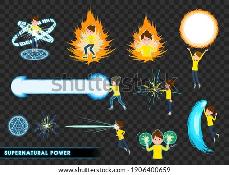 A set of women who demonstrate supernatural powers.It's vector art so easy to edit. Stock photo ©
