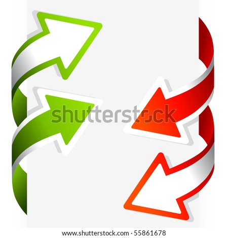 A set of wrap around arrows in green and red. Vector illustration.