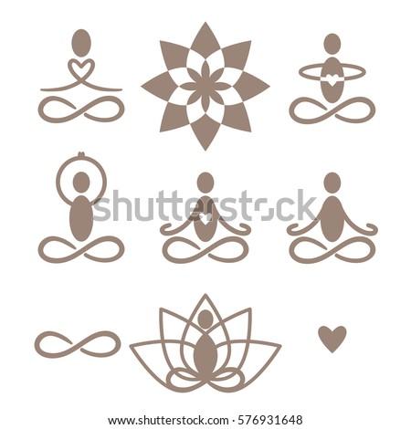 a set of yoga and meditation