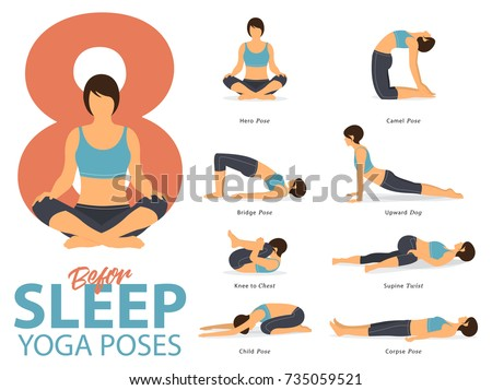 A set of yoga postures female figures for Infographic. 8 Yoga poses for exercise before sleep in flat design. Vector Illustration.