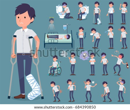 A set White short sleeved men with injury and illness. There are actions that express dependence and death. It's vector art so it's easy to edit.