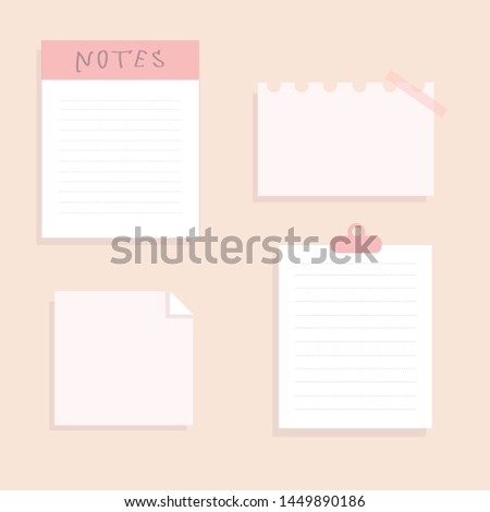 a set with beautiful stickers notes pictures for a personal diary check sheets writing sheets business pink color style flat illustration vector drawing think blank