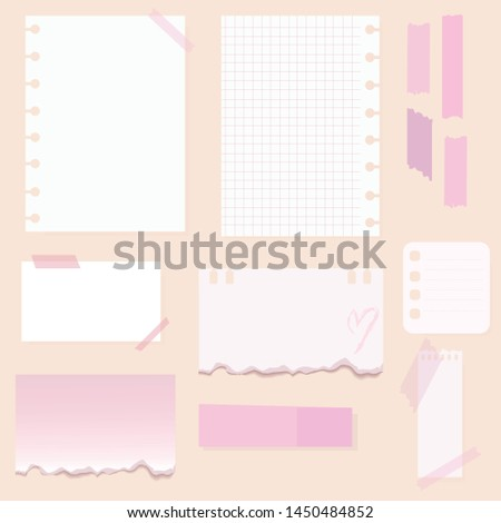 a set with beautiful stickers notes pictures for a personal diary check sheets writing sheets business pink color style flat illustration vector drawing think blank adhesive tape torn paper old stuff