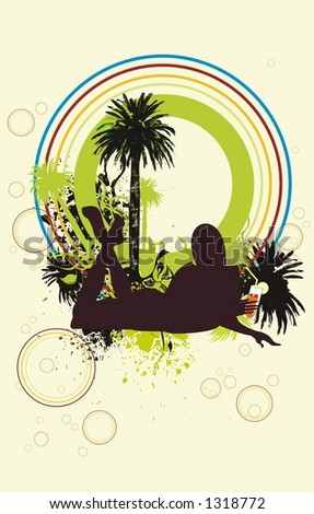 stock vector : a sexy young girl silhouette drinking a cocktail under the ...