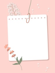 A sheet of notebook paper connected with a paperclip hang on a thread. Note paper, colorful flowers, dandelion outlines on a pink background. Vector illustration, flat style.