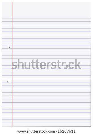 A sheet of white A4 lined writing pad paper.