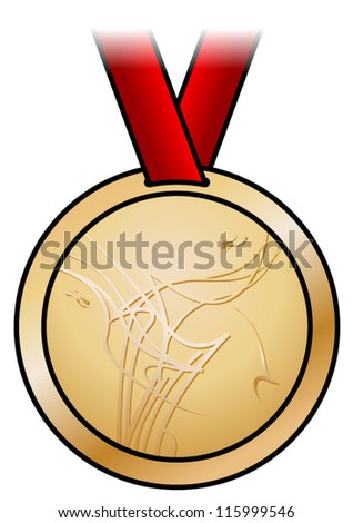 A shiny bronze medal with a modern abstract design and a red satin ribbon. Shown front-on.