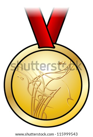 A shiny gold medal with a modern abstract design and a red satin ribbon. Shown front-on.