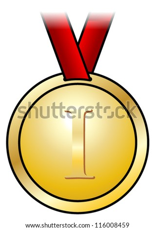 A shiny gold medal with a simple design and a red satin ribbon. Shown front-on.