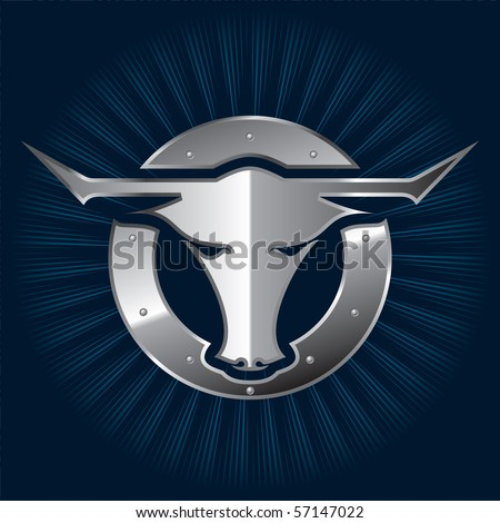 A shiny metallic bull icon for your branding templates. - stock vector